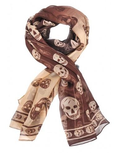 Mcqueen bufanda unisex seda estampada | marrón crudo