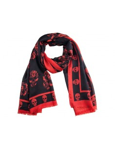 Mcqueen bufanda unisex cashmere estampada black red