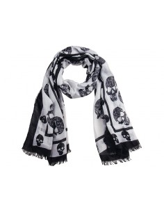 Mcqueen bufanda unisex cashmere estampada white black