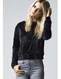 Urban Classics jersey corto mujer terciopelo negro