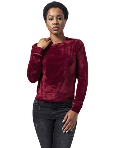 Urban Classics jersey corto mujer terciopelo - borgoña