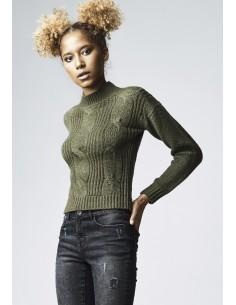 Urban Classics sueter corto mujer - verde
