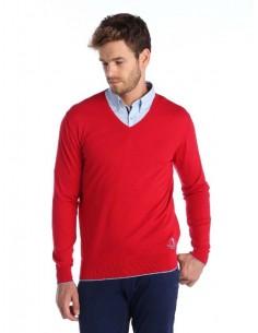 Jersey Sir Raymond Tailor de cuello pico con coderas - rojo