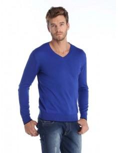 Jersey Sir Raymond Tailor de cuello pico con coderas - blue