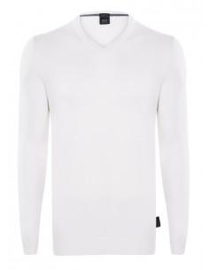 Hugo Boss jersey cuello pico blanco