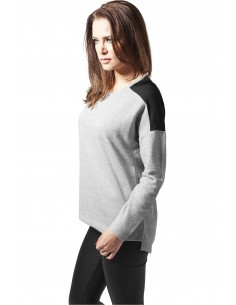 Urban Classics jersey OVERSIZE mujer chiflón - gris
