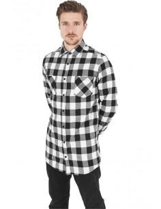 Urban Classics camisa larga de cuadros - blanco negro