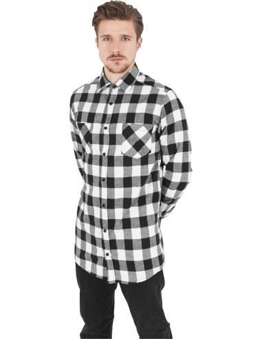 dd8af8d96d Urban Classics camisa larga de cuadros - blanco negro