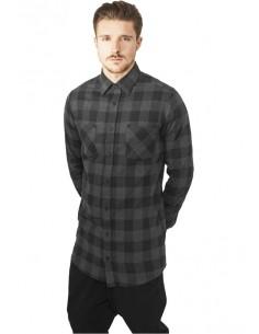 Urban Classics camisa larga de cuadros - gris negro
