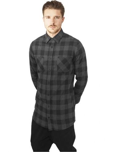 d62d187b1b Urban Classics camisa larga de cuadros - gris negro