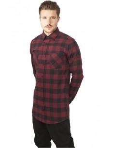 Urban Classics camisa larga de cuadros - granate negro