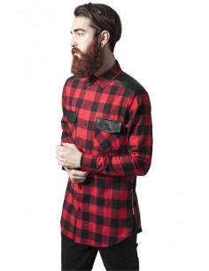 Urban Classics camisa larga zip con detalles de cuero - black white
