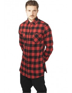Urban Classics camisa larga zip  - black red