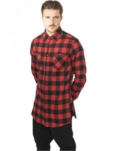 Urban Classics camisa larga zip  - black red