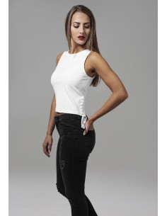 Urban Classics top Lace up - blanca