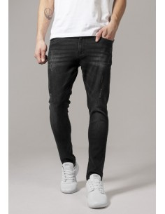 Vaqueros Urban Classics Skinny Ripped - blue washed