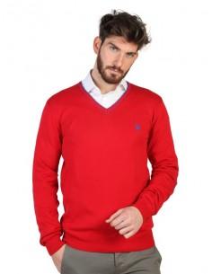 Jersey U.S. Polo Assn cuello V con contrastes - rojo