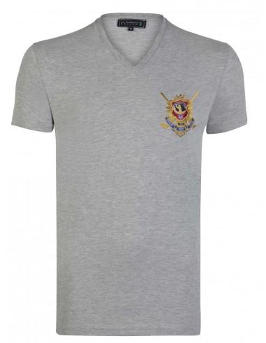 Camiseta Sir Raymond Tailor cuello V - gris
