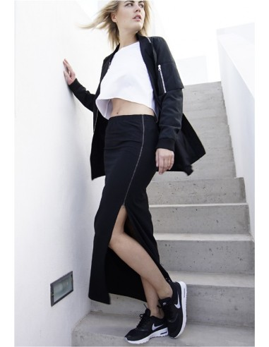 Urban Classics - falda larga cremallera- negro