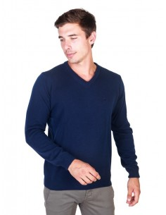 Trussardi sueter cuello pico  - light navy