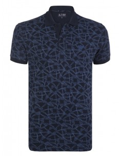 Polo Armani Jeans estampado muscle fit - navy