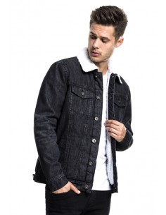 Urban Classics chaqueta denim Sherpa - black