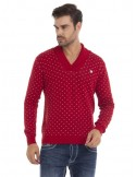 Sir Raymond Tailor - Jersey cuello smoking rojo estampado