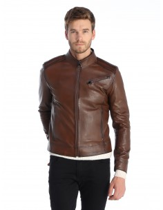 Sir Raymond Tailor - Chaqueta motera de piel brown