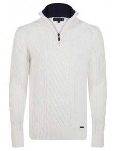 Jersey Sir Raymond half zip en tricot - crudo