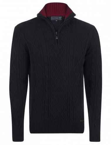 Jersey Sir Raymond half zip en tricot - negro