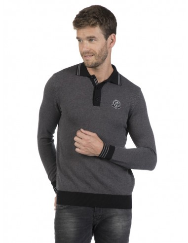 Sir Raymond Tailor - Jersey tricot negro y gris
