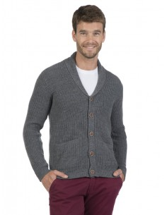Cardigan Sir Raymond Tailor de cuello smoking - grey melange