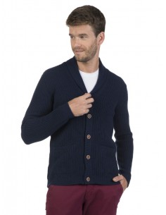 Cardigan Sir Raymond Tailor de cuello smoking - navy