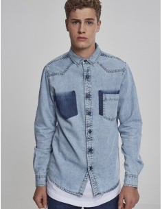 Urban Classics camisa denim - freshblue washed