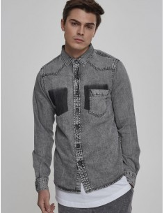 Urban Classics camisa denim - grey washed