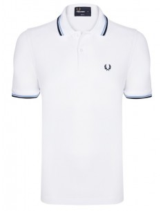 Polo básico hombre Fred Perry slim fit - White/Blue New