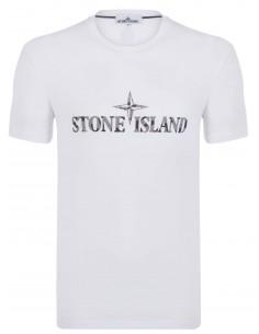 Camiseta Stone Island con logo camuflaje - blanca