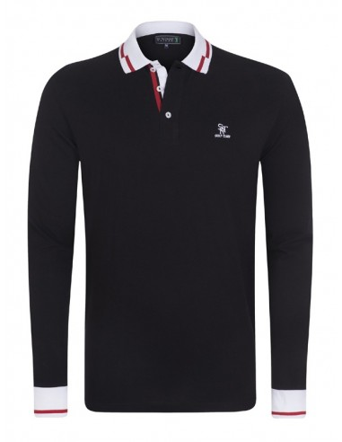 Polo Sir Raymond Tailor manga larga - black