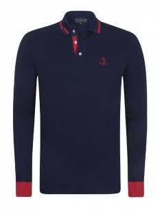 Polo Sir Raymond Tailor manga larga - Navy/red