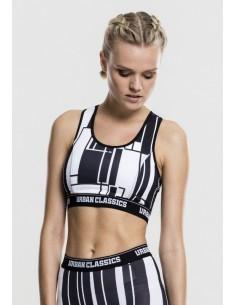 Urban Classics - Sujetador deportivo graphic -blanco y negro