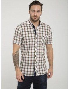 Camisa Sir Raymond Tailor manga corta - Kaki brown