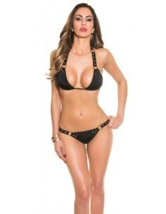 Sexy bikini con tachuelas en el cuello - negro