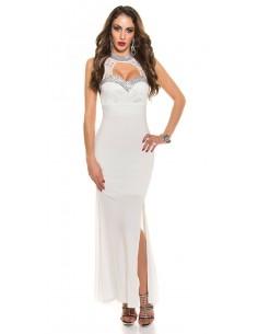 Vestido de noche Koucla pedreria y apertura - blanco