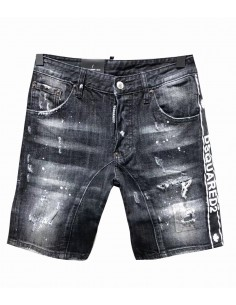 Dsquared shorts cool guy black - franja lateral