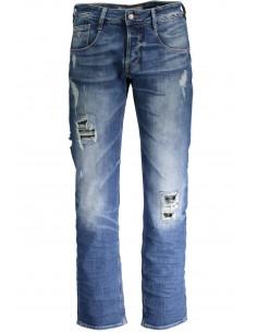 Guess pantalón vaquero regular slim con rotos - azul