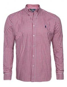 Camisa Polo de hombre slim fit - cuadros rojos