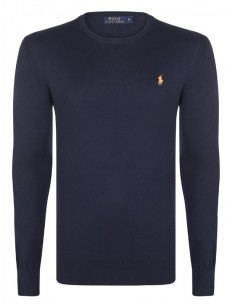 Jersey polo small pony cuello redondo - navy/orange