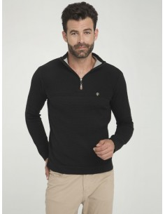 Jersey Sir Raymond half zip - black
