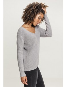Urban Classics - Jersey cuello pico lazos - gris