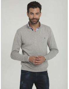 Jersey Sir Raymond Tailor de cuello pico - grey melange